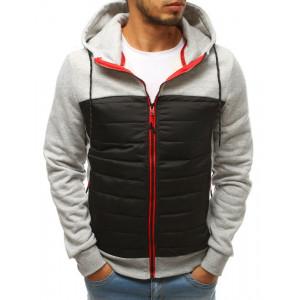Dvoubarevná pánská šedě černá přechodná bunda s kapucí