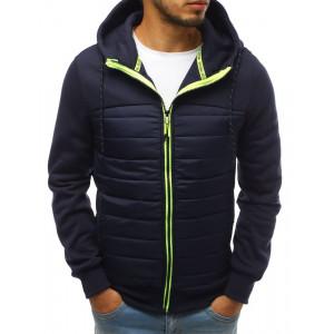 Sportovní pánská tmavě modrá přechodná bunda s kapucí