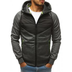 Šedě černá pánská přechodná bunda s kapucí a kapsami