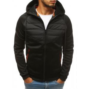 Černá pánská přechodná bunda s kapucí a kapsami