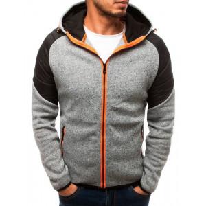 Trendy pánska sivá bunda s kapucňou a módnym prešitím