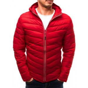 Moderní červená pánská prošívaná bunda s kapucí