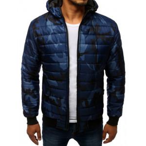 Originální pánská modrá bunda s kapucí v army vzoru