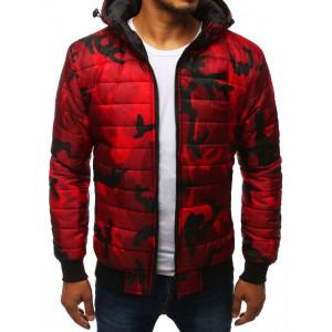 Originální červená maskáčová pánská bunda s kapucí
