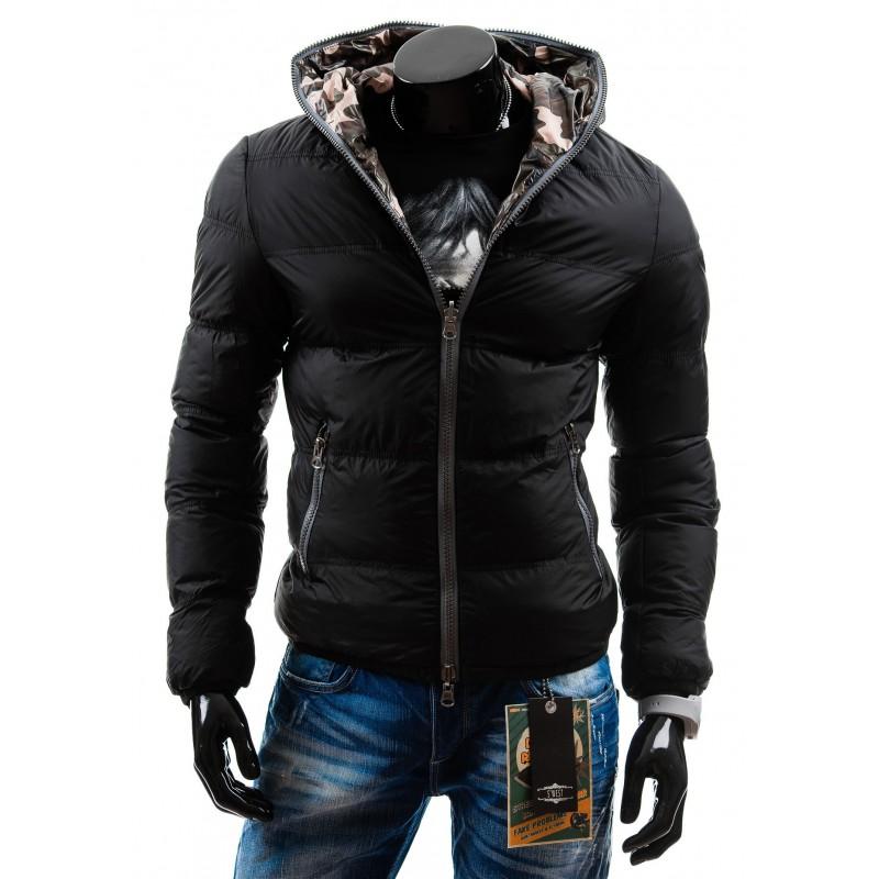 1d239547fa0 ... bundy Černá oboustranná pánská bunda na zimu. Předchozí