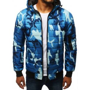 Pánská modrá prošívaná bunda s kapucí v army vzoru