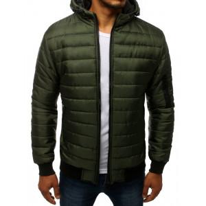 Stylová pánská zelená přechodná bunda s kapucí