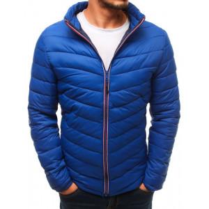 Světle modrá pánská přechodná bunda s módním prošitím