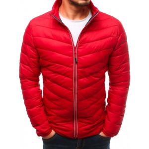 Červená pánská přechodná bunda na zip bez kapuce