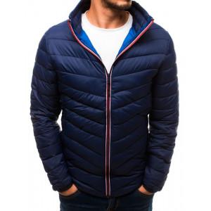 Tmavě modrá pánská prošívaná bunda bez kapuce s kapsami