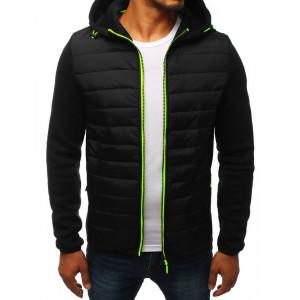 Černá pánská přechodná bunda s kapucí a rukávy z pletenin