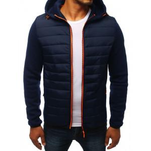 Pánská modrá bunda na jaro s kapucí a rukávy z pleteniny
