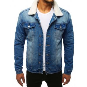 Originální pánská modrá riflová bunda oteplená kožešinou