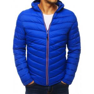 Krásna modrá pánska prošívaná bunda s kapucí