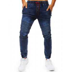Jedinečné pánské kalhoty v modré barvě jogger střihu