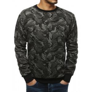 Kvalitní tmavě šedá pánská mikina s módním vzorem