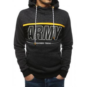 Moderní pánská tmavě šedá mikina s módním nápisem ARMY