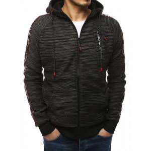Kvalitní pánská šedá mikina na zip a módním designem