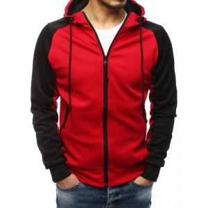 Červená pánská mikina s kapucí a zipem
