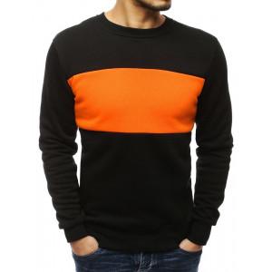 Pánská černá mikina s výrazným oranžovým pásem