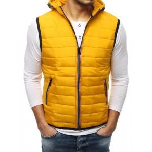 Krásná žlutá pánská přechodná bunda bez rukávů s kapucí