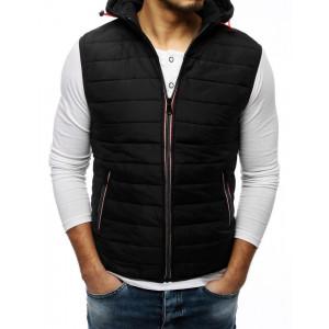 Pánská černá přechodná bunda bez rukávů s kapucí