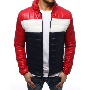 Červená pánská přechodná bunda v módní trojkombinaci