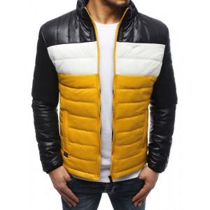 Žlutá pánská prošívaná bunda v trojbarevné kombinaci