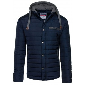 Moderní pánské zimní bundy s kapucí tmavě modré barvy