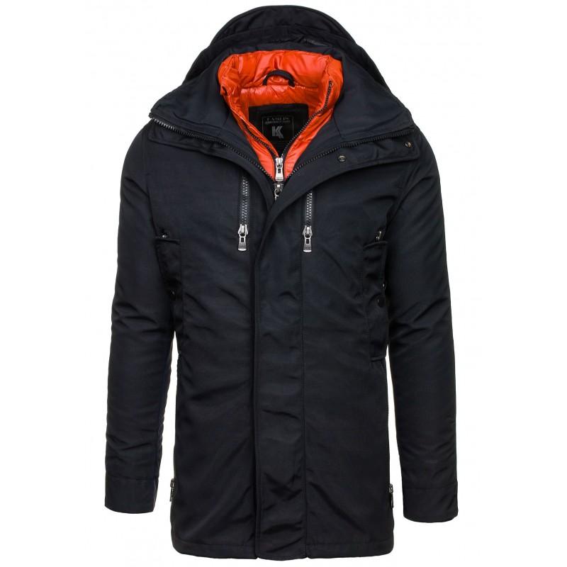 ... bundy Černá sportovní pánská zimní bunda s kapucí. Předchozí 05b591082b1