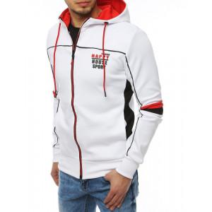Originální bílá pánská bunda na zip s kapucí