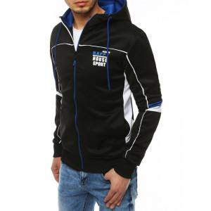 Trendy černá pánská bunda na zip s kapucí