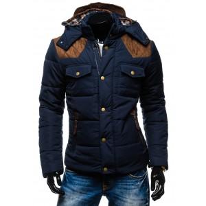 Prošívaná tmavomodrá pánská zimní bunda