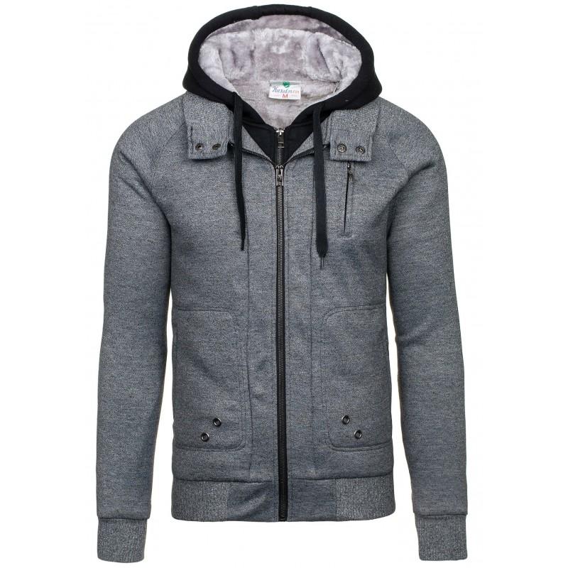 Šedá pánská bunda na podzim s černou kapucí - manozo.cz 613a8a718c9