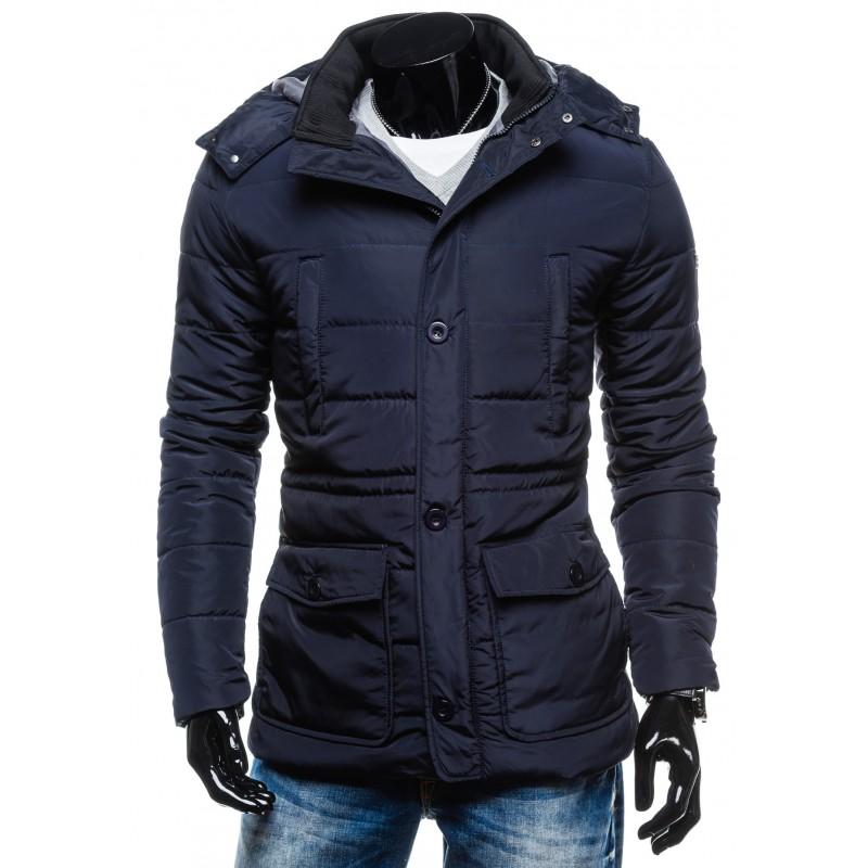 ... bundy Pánská prošívaná zimní bunda tmavě modré barvy. Předchozí e5a2fe671cd