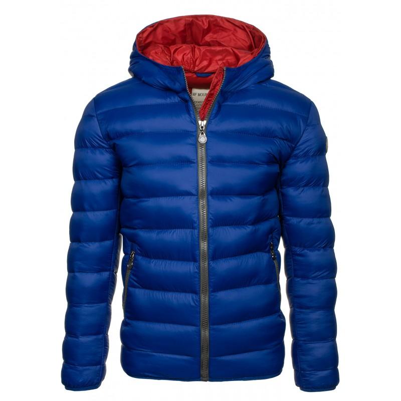 6e1897a5c5da Pánská jarní bunda s kapucí modré barvy - manozo.cz