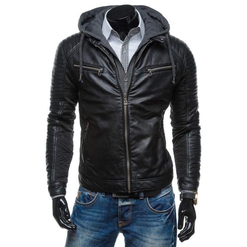 ... bundy Pánská černá zateplená kožená bunda. Předchozí cd715eccd76