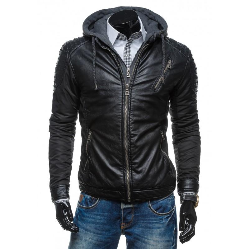 75cc5132e8 ... bundy Pánská černá kožená bunda s odepínací kapucí. Předchozí