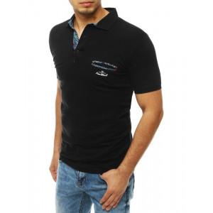 Stylové černé pánské polo tričko s květinovým potiskem