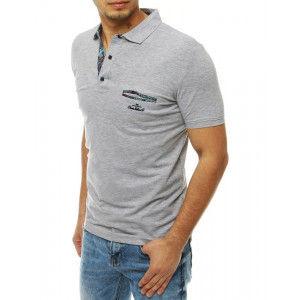 Šedé pánské tričko s límečkem se zapínáním na knoflíky