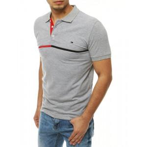 Pánské šedé polo tričko s decentním pruhem