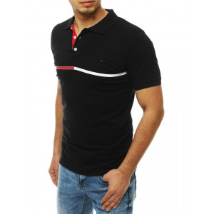 Moderní pánské černé tričko s pásem a límcem