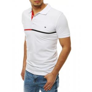 Bílé pánské polo tričko s límečkem a zapínáním na knoflíky