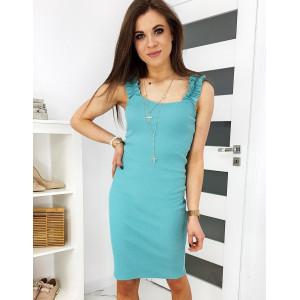 Letní dámské tyrkysové šaty na ramínka s volány