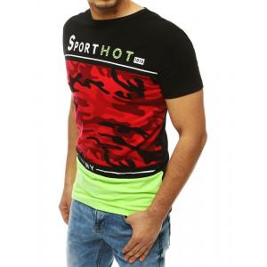 Černé pánské tričko s krátkým rukávem v army vzoru