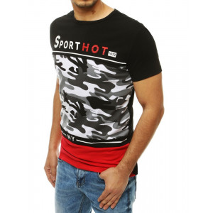 Červené pánské tričko s módním army vzorem