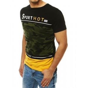 Zelené pánské tričko s army vzorem a kontrastními barvami