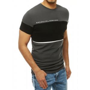 Originální pánské šedé tričko s černým pruhem