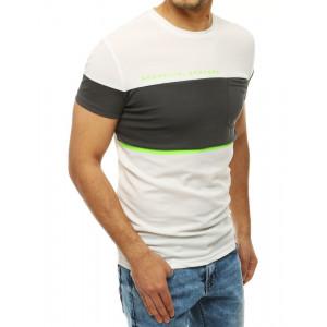 Pánské bílé tričko s šedým pruhem s kapsou