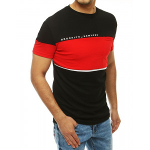 Pánské černé tričko s výraznou červenou barvou a kapsou